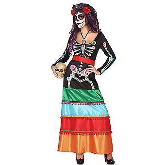 Kleurrijke Mexicaanse vermomming lange vrouw Dia DE los muertos