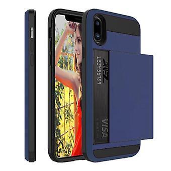 VRSDES iPhone XS Max - Funda de la cubierta de la ranura de la tarjeta wallet business blue
