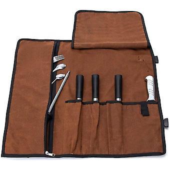 FengChun Wasserdichte Messerrolle, 473 g, gewachstes Segeltuch, Messer-Aufbewahrung, Rolltasche,