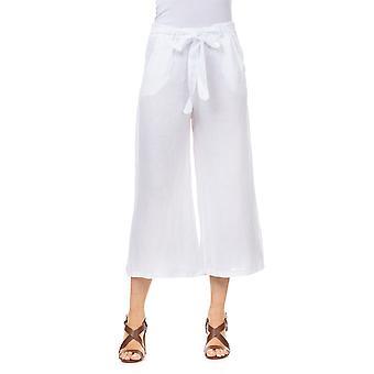 Brede linnen bijgesneden broek