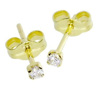 InCollections - Children's lobe earrings with cubic zirconia, yellow gold 8k (333), cod. 0010160004401