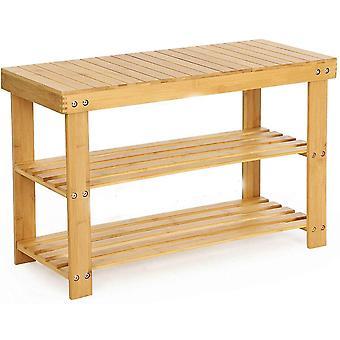 FengChun Schuh Rack, 3 Tier Bambus Schuh Schrank Bank, Schuh Regal Lagerung Organizer, ideal für Halle,