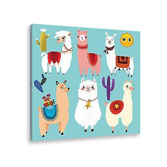 Schilderij kind lama's cartoon alpaca