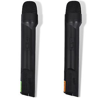 vidaXL ontvanger met 2 draadloze microfoons FM/VHF