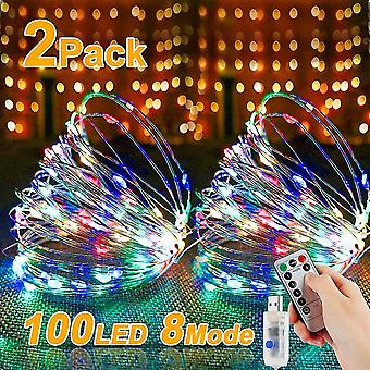 100 Leds 10m warm white silver wire usb plug with remote control starry light- multicolor(2pcs) dt5947
