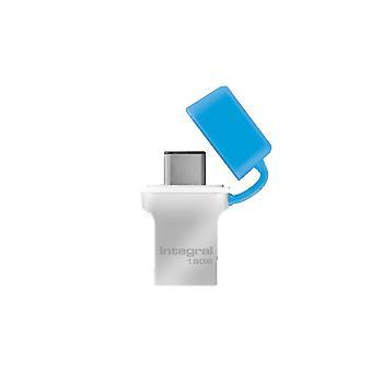 Intégrale 16Gb USB3.0 Memory Flash Drive (Memory Stick) Type-C Fusion Metal Blue