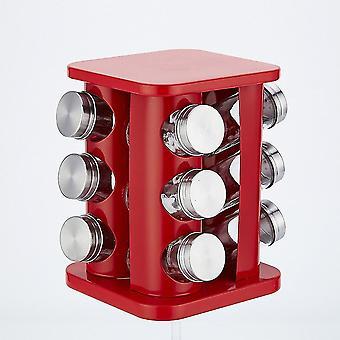 Kitchen Jars Spices Rotating Cruet Seasoning Jar Set Stainless Steel Glass Pepper Salt Shakers