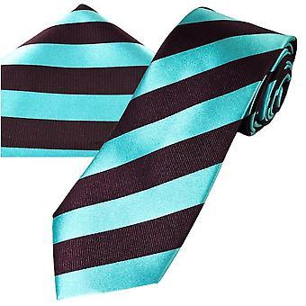Ties Planet Gold Label Claret & Blue Striped Miesten silkki solmio & tasku neliö nenäliina setti