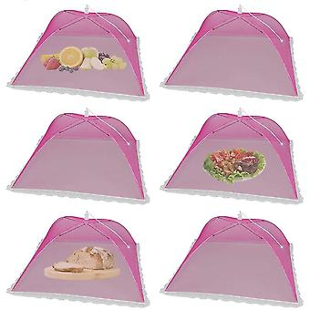 6 Pack Pop-up Picnic Food Tent Covers, Foldable Mesh Screen Food Covers(Red)