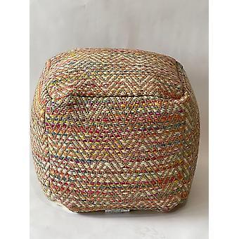 Spura Home Handmade Knitted Pouf-Square wool & Jute Ottoman