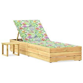 lettino da giardino vidaXL con tavolo e pino pad impregnato