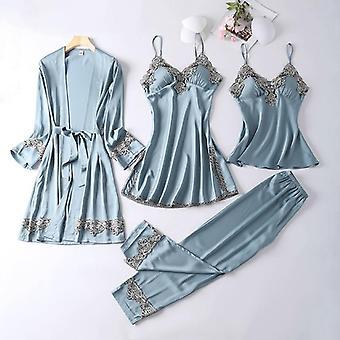 Women Pajamas Sets, Elegant Faux Silk Sleepwear Homewear