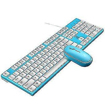 Erittäin ohut langallinen USB-näppäimistö ja hiiren vaihtosarja (sininen)