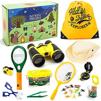 Entdecker Spielzeug Draussen Forscherset mit Fernglas Kompass Pfeife Lupe Rucksack Tolles Kinder