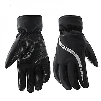 Winter Gloves Men's Motorcycle Gloves Plush Thickened Warm, Cold And Water Proof Bicycle Riding And Skiing Gloves