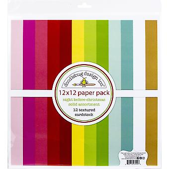 """Doodlebug Textured Double-Sided Cardstock 12""""X12"""" Pack - Night Before Christmas"""