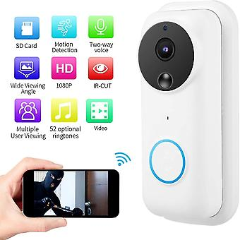 Video doorbell, 1080P wireless WiFi, PIR motion sensor, night vision with infrared camera, 166 °