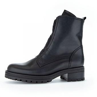 Gabor Sea Wide Fit Komfort Ankel Støvler I Svart Skinn