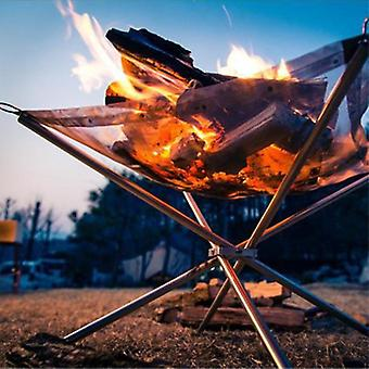Outdoor Portable Fire Rack Folding Table Grill Stainless Steel Point Charcoal