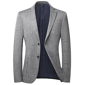 Mile Men's Houndstooth Single Row Two Buttons No Slit Casual Suit Grigio chiaro