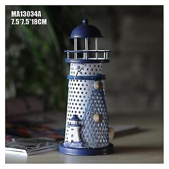 Wrought Iron Mother-of-pearl Lighthouse Lantern Candle Holder 18cm Lighthouse