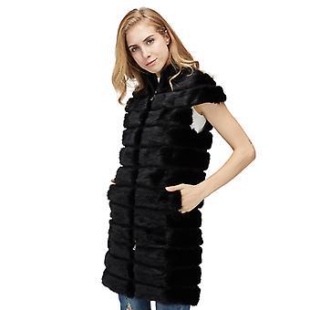 Mimigo Frauen Echt Nerz Pelz Weste Natur Fell Weste Langes Design mit abnehmbarer Länge Standkragen Nerz Pelz Jacke