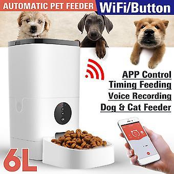 6l אוטומטי מאכיל לחיות מחמד שלט רחוק חכם 5s הקלטת מתקן מזון חתול וכלב