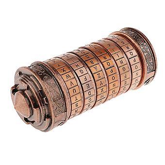 Da Vinci Entschlüsselungsbox Dock schmerzt Brust / Box mit zylindrischem Schloss im Retro-Stil / Geburtstag oder Valentinstagsgeschenk, Kupfer