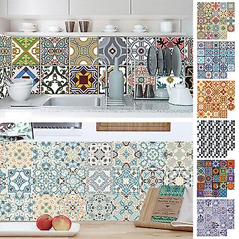 24pcs Floral Mosaic Tile Stickers Self Adhesive Waterproof Home Wall Decor Decal