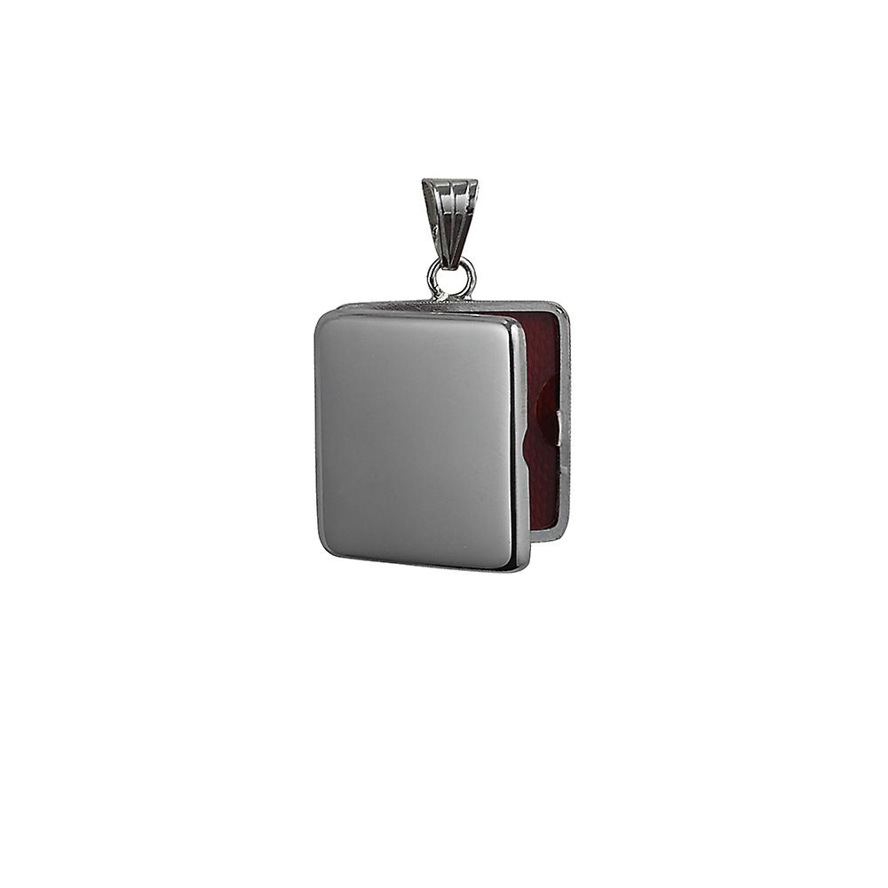 22 mm flach quadratisch schlicht Medaillon Silber