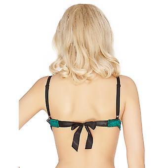 Mio Classic Alyssa Green and Black Self-Tie Triangle Bra P863C