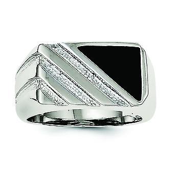 925 Gümüş Katı Cilalı Açık arka Mens Erkekler için Simüle Oniks Yüzük Takı Hediyeler - Yüzük Boyutu: 9-11