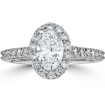 1 1/2ct Oval Clarity Enhanced Diamond Halo Engagement Ring 14K White Gold
