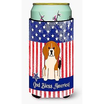 Patriotic USA Beagle Tricolor Tall Boy Beverage Insulator Hugger
