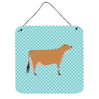 Jersey koe blauw Check muur of deur hangen Prints