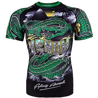 Venum Crocodile Dry Tech Short Sleeve MMA Rashguard - Black/Green