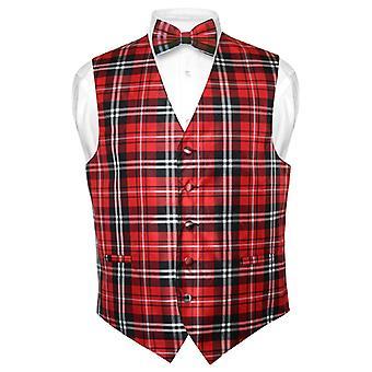 Mannen geruite Design jurk Vest & BOWTie strikje instellen