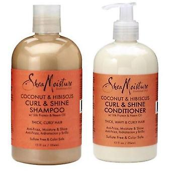 Shea Moisture Cleanse and Condition Pack - Coconut & Hibiscus Curl and Shine ...