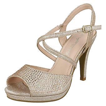 Mesdames Anne Michelle Diamante Buckle Strap sandales F10835