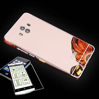 Aluminium av stötfångare 2 st rosa + 0.3 H9 härdat glas för Huawei Mate 10 Pocket fall nya