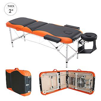 HOMCOM Foldable Massage Table Professional Salon SPA Facial Couch Bed Black and Orange