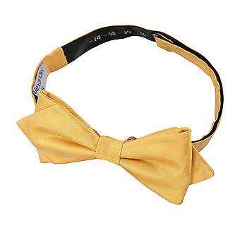 Primrose Yellow Herringbone Silk Pointed Pre-Tied Bow Tie