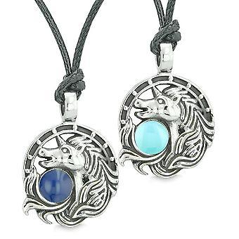 Einhorn Beste Freunde oder liebe paar Amulette Lucky Horse Shoe Baby Königsblau Anhänger Halsketten