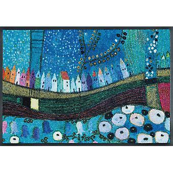 wash + dry floor mats town in blue by Eugen Stross washable floor mat