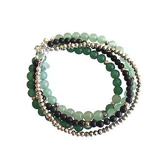 Pulseira de pedras preciosas pulseira pirita serpentina Aventurine conjunto conjunto de prata 925
