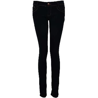 Mesdames Dark Denim clouté Diamante Bow Pockets Skinny Slim Fit Jeans de femme