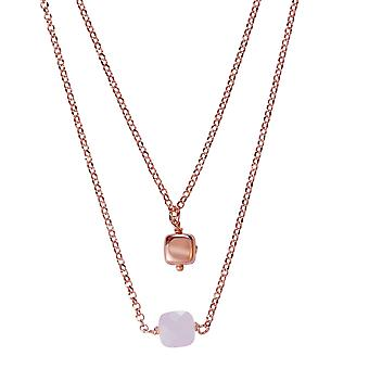 Orphelia Silver 925 Double Rose Necklace with Pink Stones 45 CM