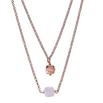 Orphelia Silver 925 dubbele Rose ketting met roze stenen 45 CM