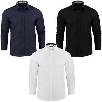 Brave ziel Mens Tudor Plain formeel Slim Fit lange mouwen knoopte in Shirt Top