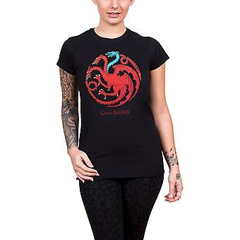 Game Of Thrones T Shirt Targaryen Ice Dragon Official Womens Skinny Fit Black